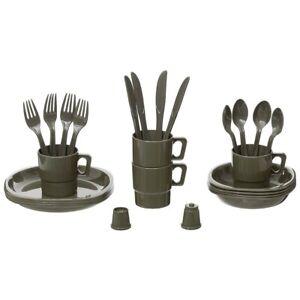 MFH Camping Geschirr 26-teilig 4 Personen Teller Tassen Besteck Schüsseln Küche