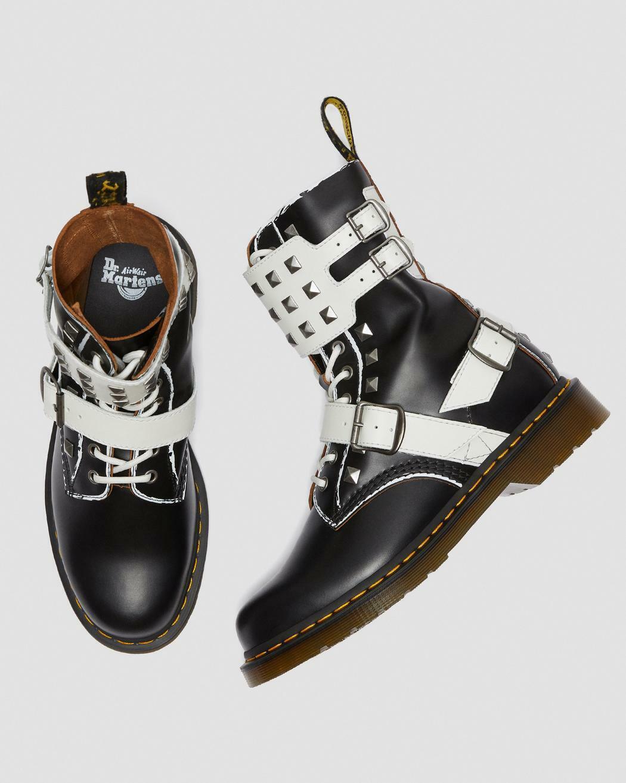 Dr Martens Unisex BlackWhite 1490 Joska Stud 10-Eye High Boots UK 4 / UK 8