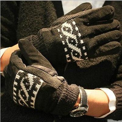 Men's warmer Winter Knitted Pigskin Leather Fur Hand Gloves Mitten Crochet Braid