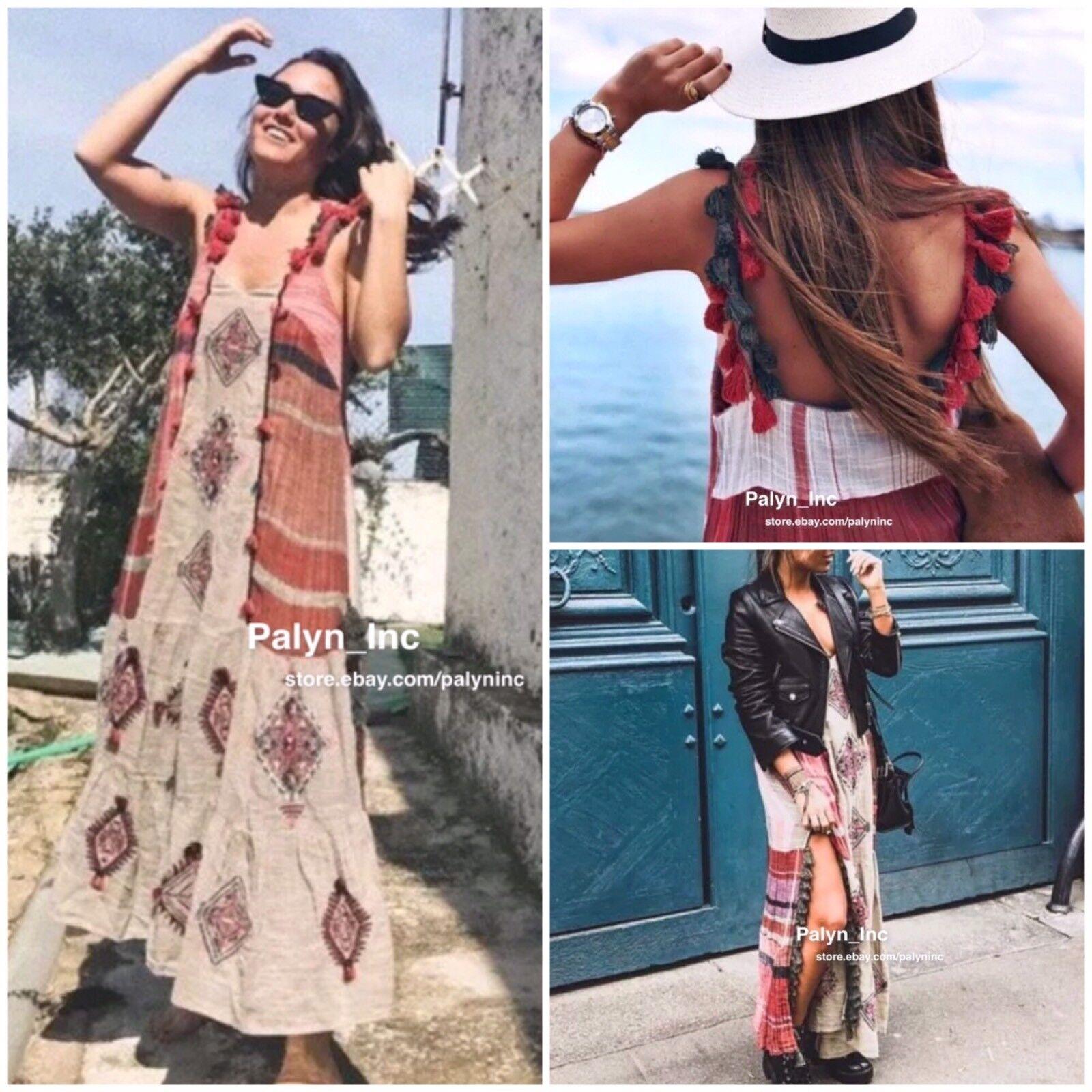 Nwt Zara Ss18 Sand Lang Besticktes Kleid mit Quasten _ XS S M L