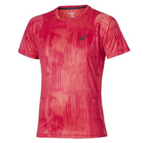 Asics Mens Running T-Shirt Printed FuzeX T-Shirt - Pink - New