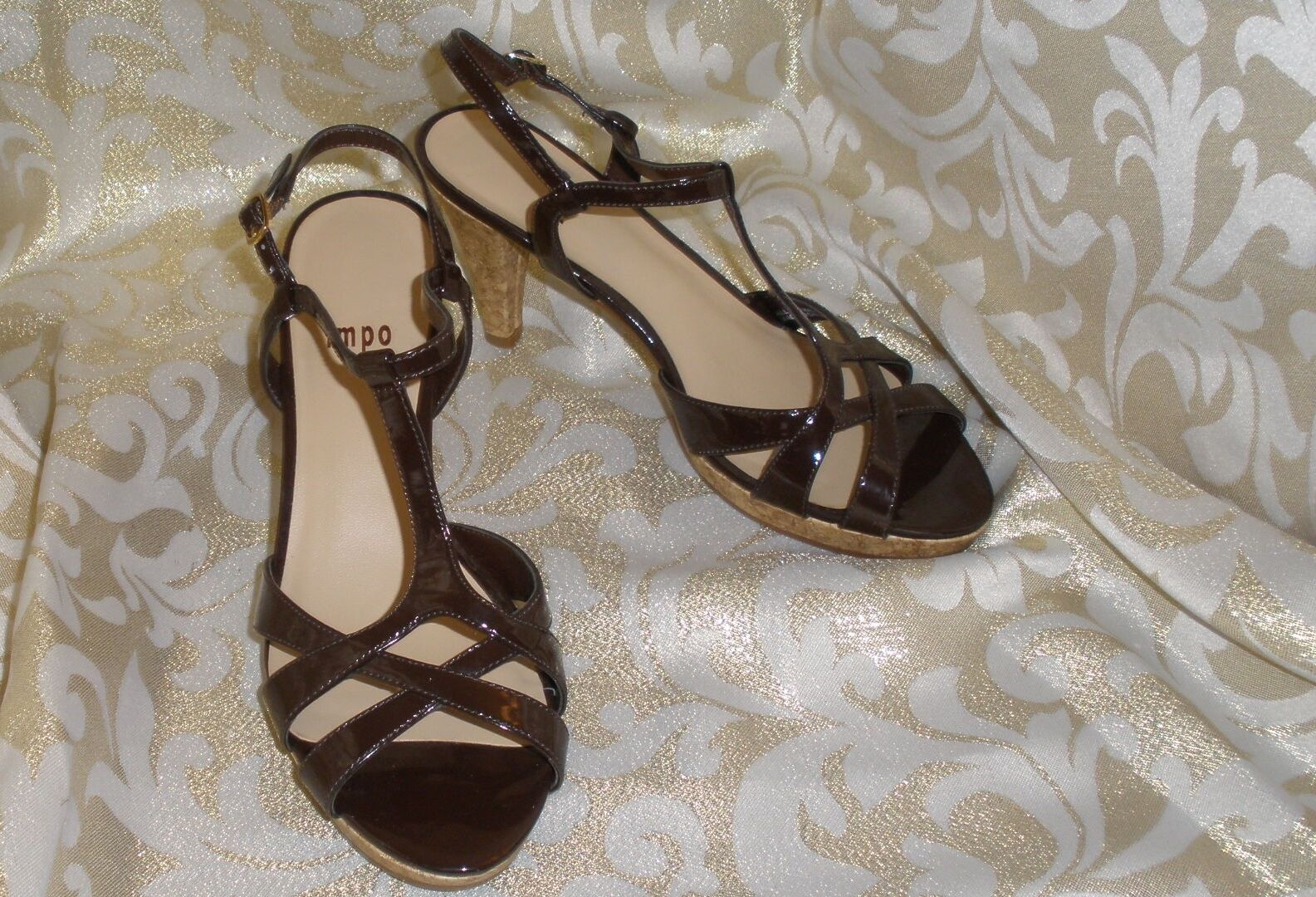 IMPO BROWN PATENT STRAPPY MULES PUMPS SLINGBACK T-STRAP PLATFORM MULES STRAPPY 3