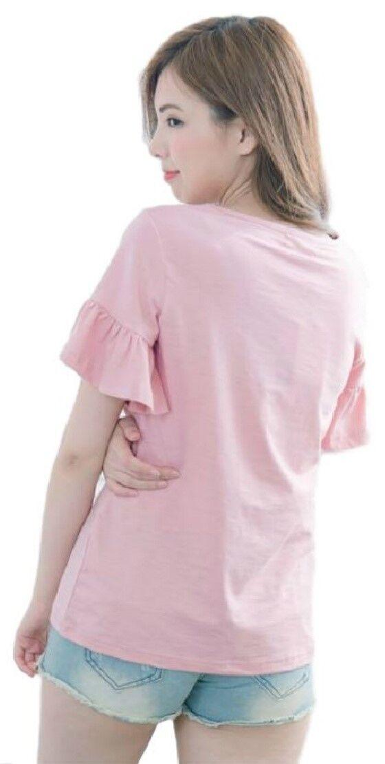 Soins infirmiers/Breastfeeding cottonsummer volants haut volants cottonsummer manches, taille 10-16 Rose/Bleu/Blanc f6119a