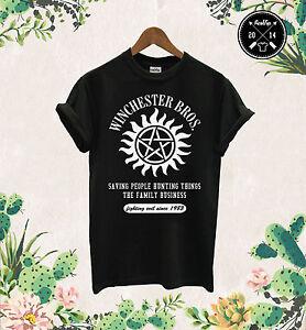Winchester-Brothers-T-Shirt-Mens-Supernatural-Sam-Dean-Bobby-Hunting-Gift-Tee