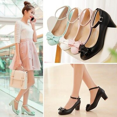 Womens Bowknot Mid Chunky Heels Round Toe Mary Janes Ankle Strappy Shoes Pumps