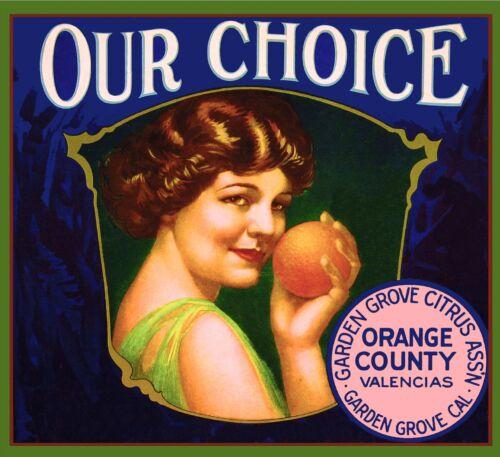 Garden Grove Our Choice #1 Orange Citrus Fruit Crate Label Art Print