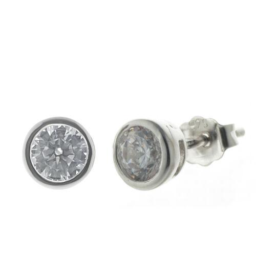 6 mm von Bella Carina 925 Silber Ohrstecker  Stecker mit Zirkonia rhodiniert