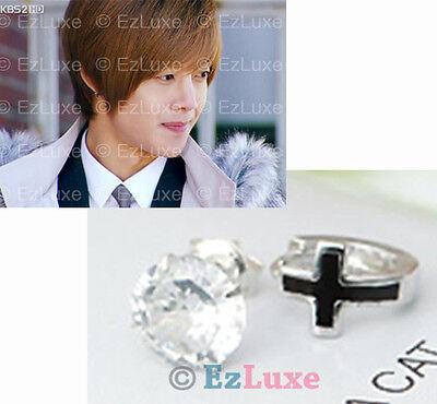Korean TV boys over flowers F4 Asymmetric Earrings cross mini hoop crystal stud