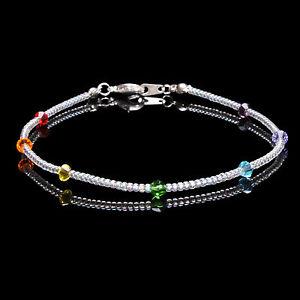 Sterling Silver Chakra Swarovski Crystal Elements and Clear Seedbead Bracelet