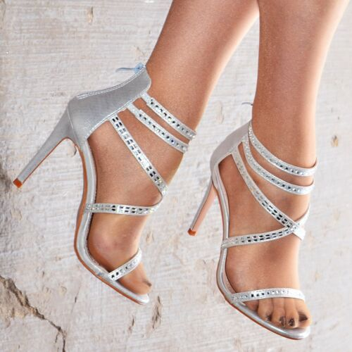 Ladies Womens High Heel Party Sandals Strappy Stiletto Heels Studded Shoe Size