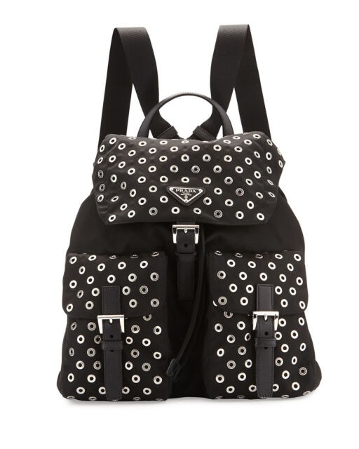a3470d7a74f8 100% AUTHENTIC NEW PRADA WOMEN TESSUTO GROMMET BLACK NYLON BACKPACK/BAG