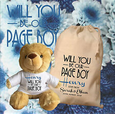 Personalised Page Boy Teddy Bear With Matching Gift Bag - Henry Design