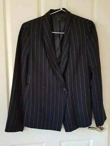 Carla-Zampatti-Striped-Blazer-Jacket-Suit-Size-12-Black-Made-in-Australia
