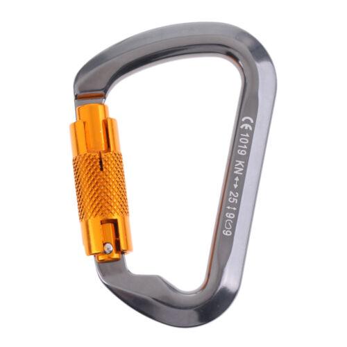 25KN Twist Gate Auto Lock Carabiner Rock Tree Climbing Dog Clip Hammock Hook