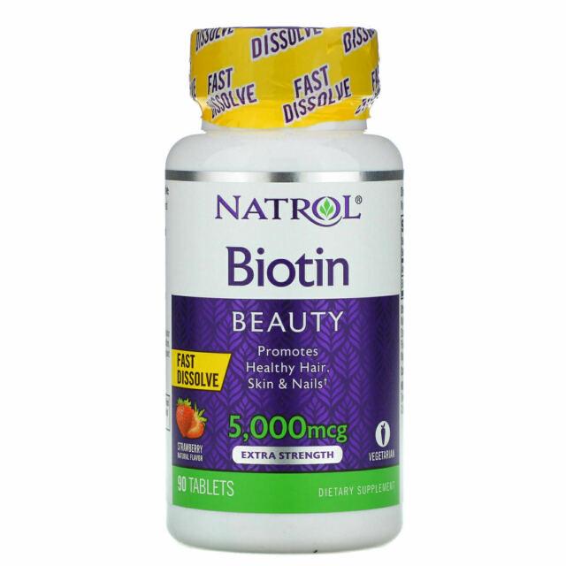Natrol Biotin Fast Dissolve-Strawberry 5000 mcg 90 Tabs Nail hair skin Health