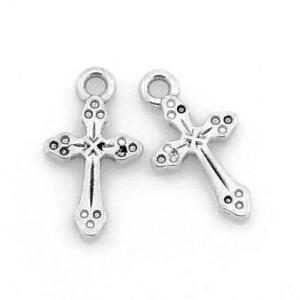 Cross-Charm-Pendant-Tibetan-Antique-Silver-19mm-10-Charms-Accessory-Jewellery