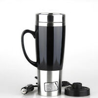 450ML Stainless Steel Car Auto Heated Cup Travel Coffee Tea Water Mugs 12V-24V