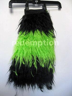 Demonia HUGE Furry Cyber Goth Anime Monster Fake Fur Boot Covers Black/Green