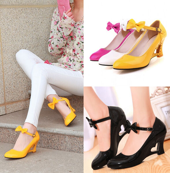 Sweet Bowknot Patent Leather Ankle Strappy Wedge Heart Women's Dress Heels shoes