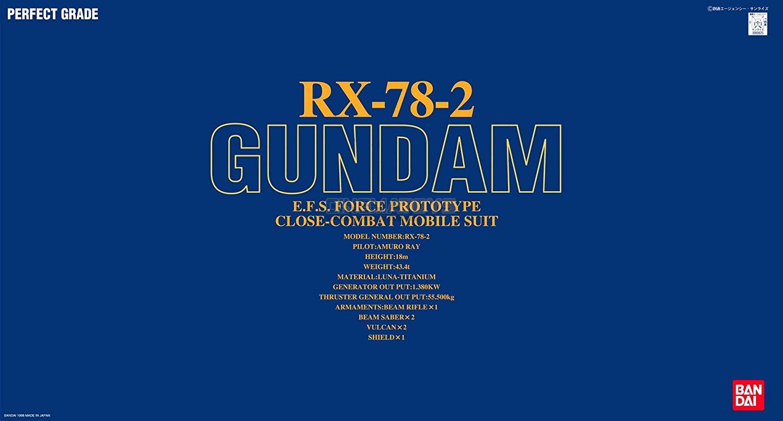 BANDAI Perfect Grade PG 1/60 RX-78-2 GUNDAM Classic Mobile Suit Model Kit Japan