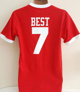sports shoes cdbab 392c7 Details about MANCHESTER UNITED 1960's GEORGE BEST NO. 7 REPLICA RETRO  SHIRT (RED)