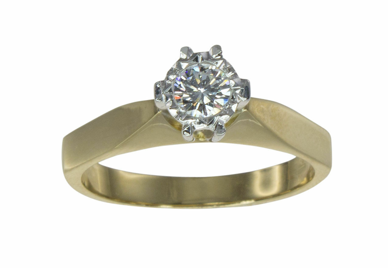 18k Yellow gold Solitaire Illusion 0.25ct G SI Diamond Engagement Ring N