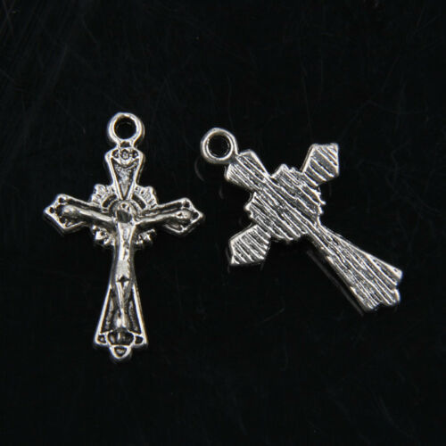 40pcs Tibetan Silver Jesus Cross Pendants Charms For Jewelry Making 26x14mm