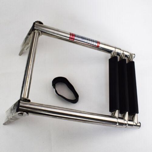 New 3 Step Telescoping Folding Ladder Platform Boarding Swim For Boat Marine Sea