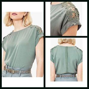 New-Ex-Oasis-Ladies-Khaki-Top-with-crochet-sleeve-Size-6-18