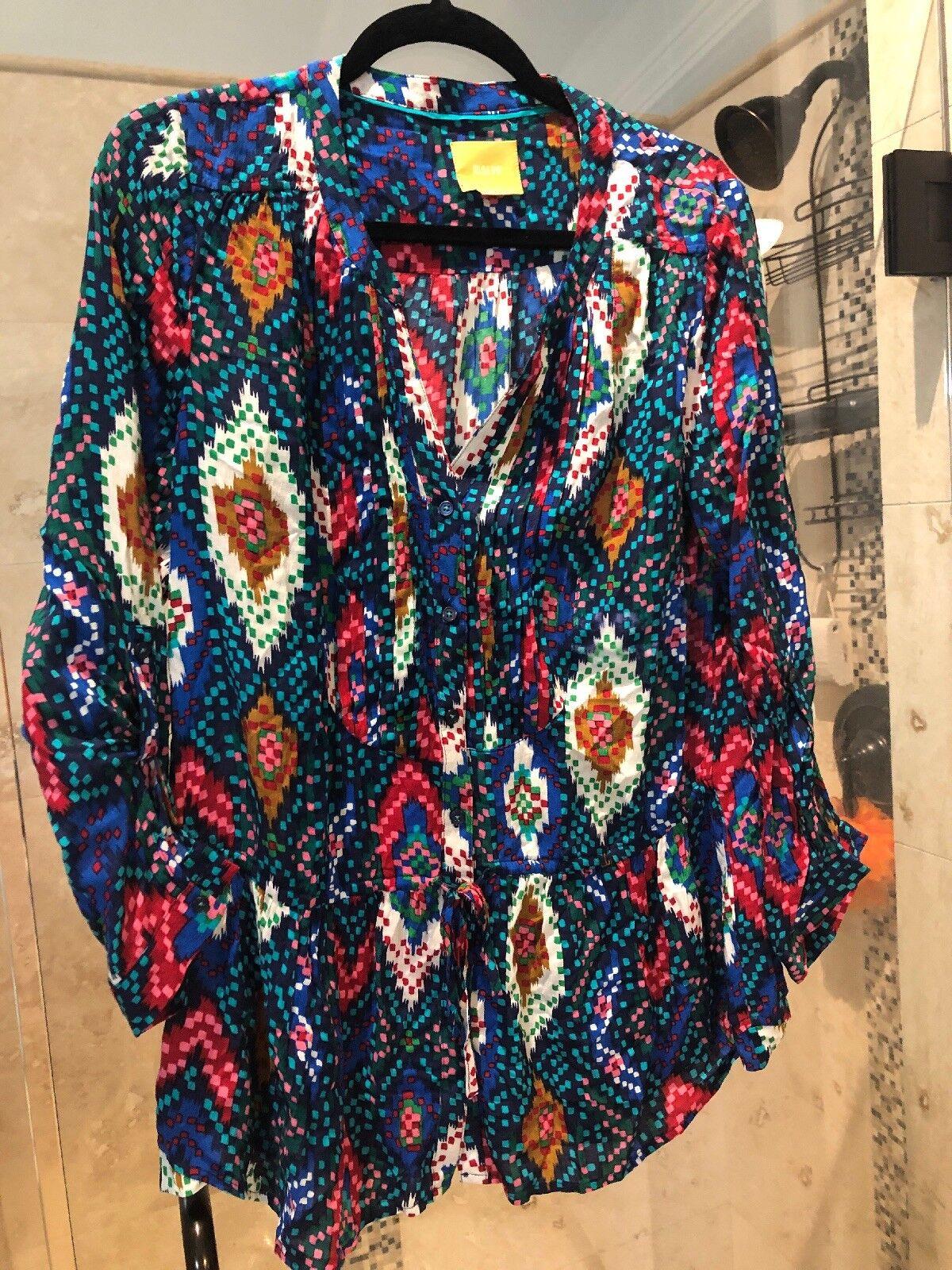 Maeve Anthropologie damen Peplum Top Blouse Tunic Blau Rosa rot Azte Sz 6 Small