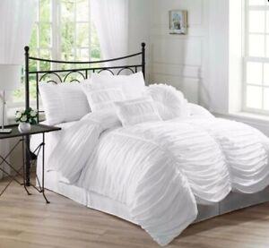 Ennia 7-Piece Comforter Set Queen Cal King Shams Pillows Bed Skirt Bedding Grey