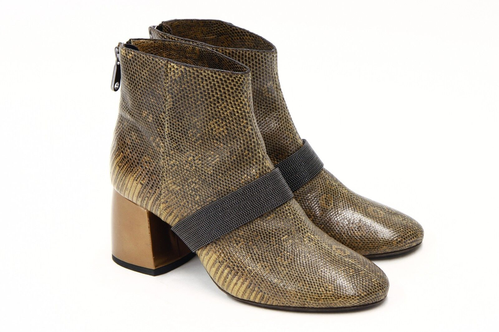 NWOB 3995 Brunello Cucinelli Texturot Leather Monili Bead Ankle Stiefel Stiefel Stiefel 37 7US A181 a1e26f