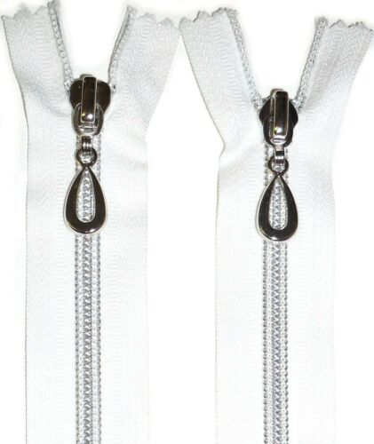 """ZIP WHITE 43.5/""""//110CMS SILVER NYLON SPIRAL TEETH COIL ZIPPER TWO WAY CLOSED END"""