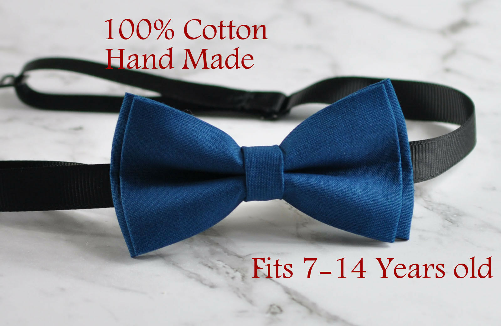 Navy Blue Bow Tie Bowtie Wedding 7-14 Years Old Boy Teenage 100/% Cotton Grey