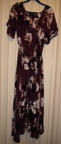 Details about  /Jaase Leah Off the Shoulder Plum Skies Maxi Dress Floral Bohemian Size XS /& L