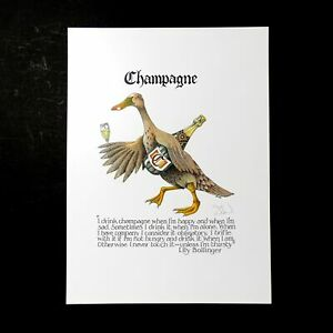 Simon-Drew-Print-Signed-Champagne-Lily-Bollinger-Entertaining-Drinking-Art-Large