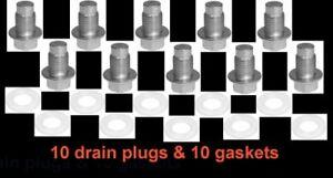(10) 12mm 1.25 Dog Point Zinc 14mm Hex Drain Plugs & (10) Nylon Gaskets