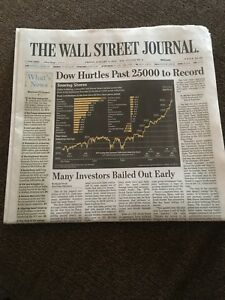 WALL STREET JOURNAL DOW JONES 25000 NEW RECORD HIGH FULL NEWS PAPER 1/5/2018 | eBay