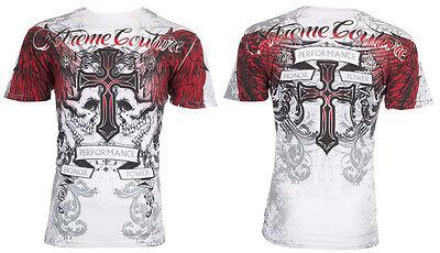 Xtreme Couture AFFLICTION Men T-Shirt CARNIVORE Skull Tattoo Biker UFC M-4XL $40