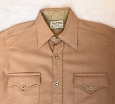 Vintage Pendleton Mens Sz M High Grade Western Wear Solid Tan Wool Shirt Medium