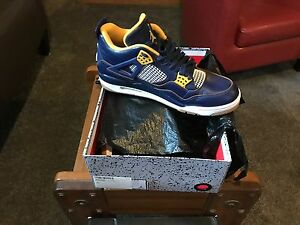 separation shoes 5376e 94515 Details about Men's Nike Air Jordan 4 Navy Blue and Yellow Gold Notre Dame  Sneaker 11.5