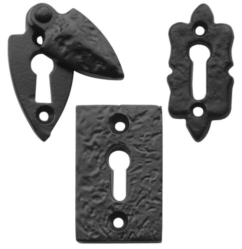 Premium UK Quality Key Hole Escutcheons Black Antique Traditional Cast Irion