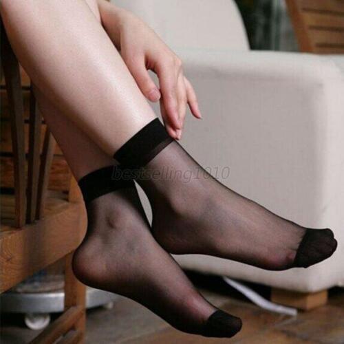 10 Pairs Women Summer Socks Crystal Transparent Thin Silk Socks Short Stockings