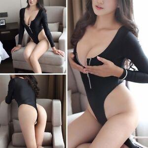 342cf1d861 Front Zipper Bodysuit One Piece Catsuit Long Sleeve Jumpsuit Thong ...