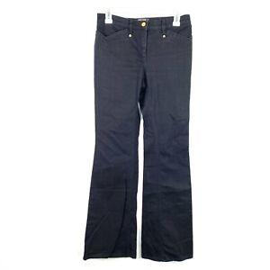 Roberto-Cavalli-Italy-Designer-Women-039-s-Black-Flare-Gold-Logo-Button-Jeans-Size-0