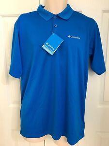 NEW columbia men s Zero Rules short sleeve Polo shirt Vivid Blue  d1cca689b4d36
