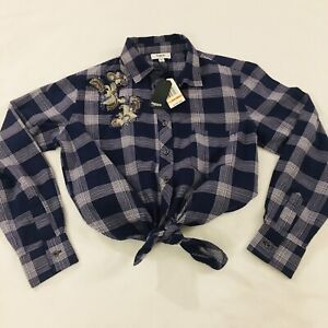 Kensie Jeans Flannel Plaid Shirt Women's Size Small Metallic Embroidered NWT