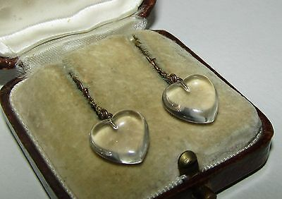 SUPERB, VICTORIAN, 12CT GOLD HEART EARRINGS WITH FINE ROCK CRYSTAL/POOL OF LIGHT