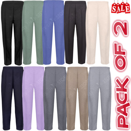 PACK OF 2 LADIES WOMENS HALF ELASTICATED WAIST TROUSERS WITH POCKETS PLUS SIZES