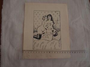 GRAVURE SCENE EROTIQUE CURIOSA 2 FEMMES 1 HOMME 1930